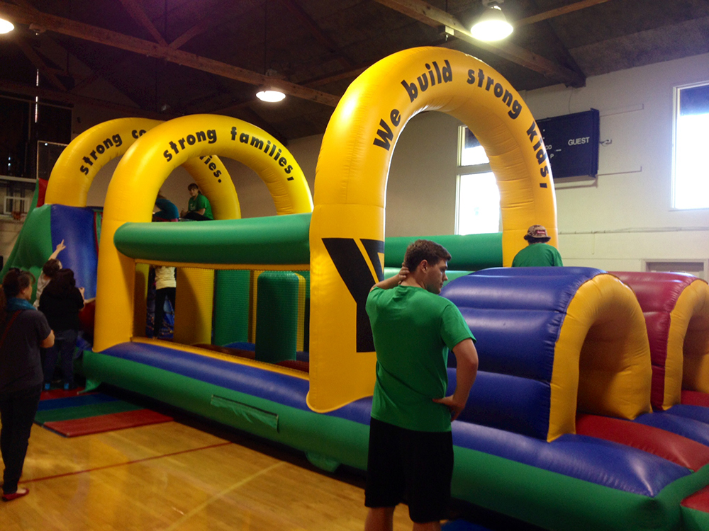 YMCA inflatable obstacle course
