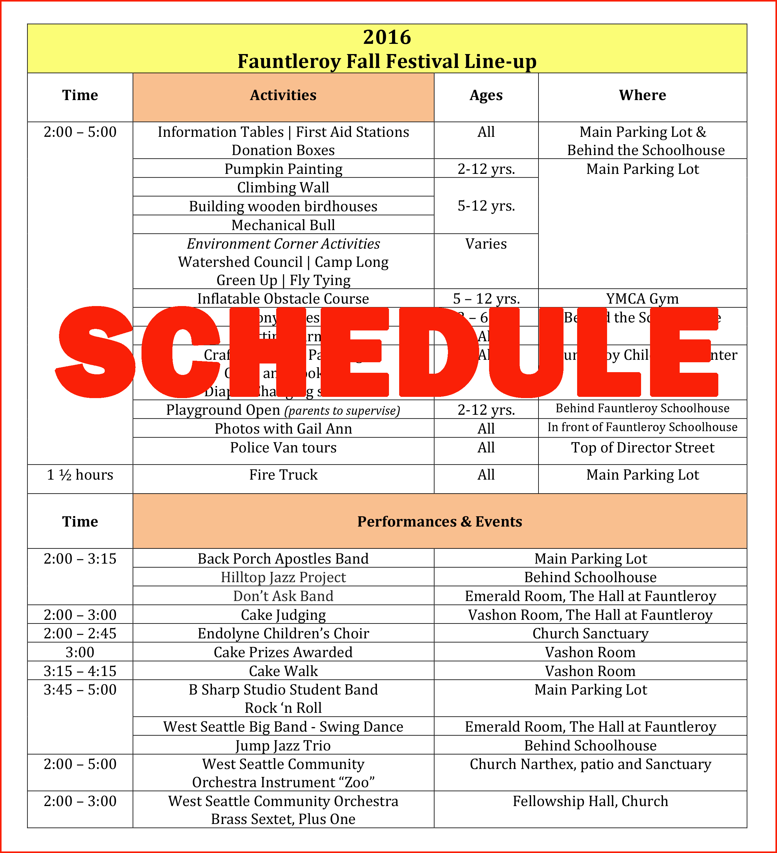 Fauntleroy Fall Festival 2016 schedule of events (PDF)