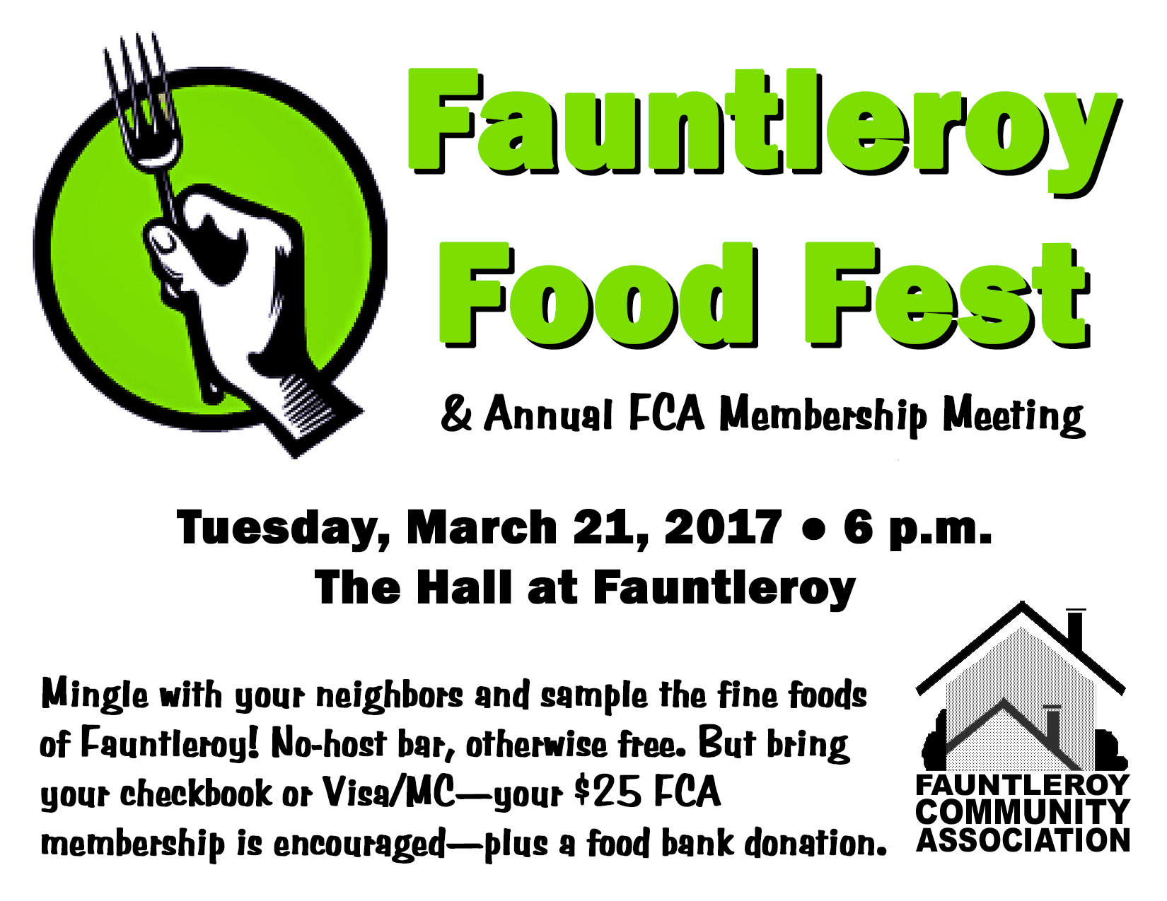 Fauntleroy Food Fest and Annual Fauntleroy Community Association Membership Meeting notice