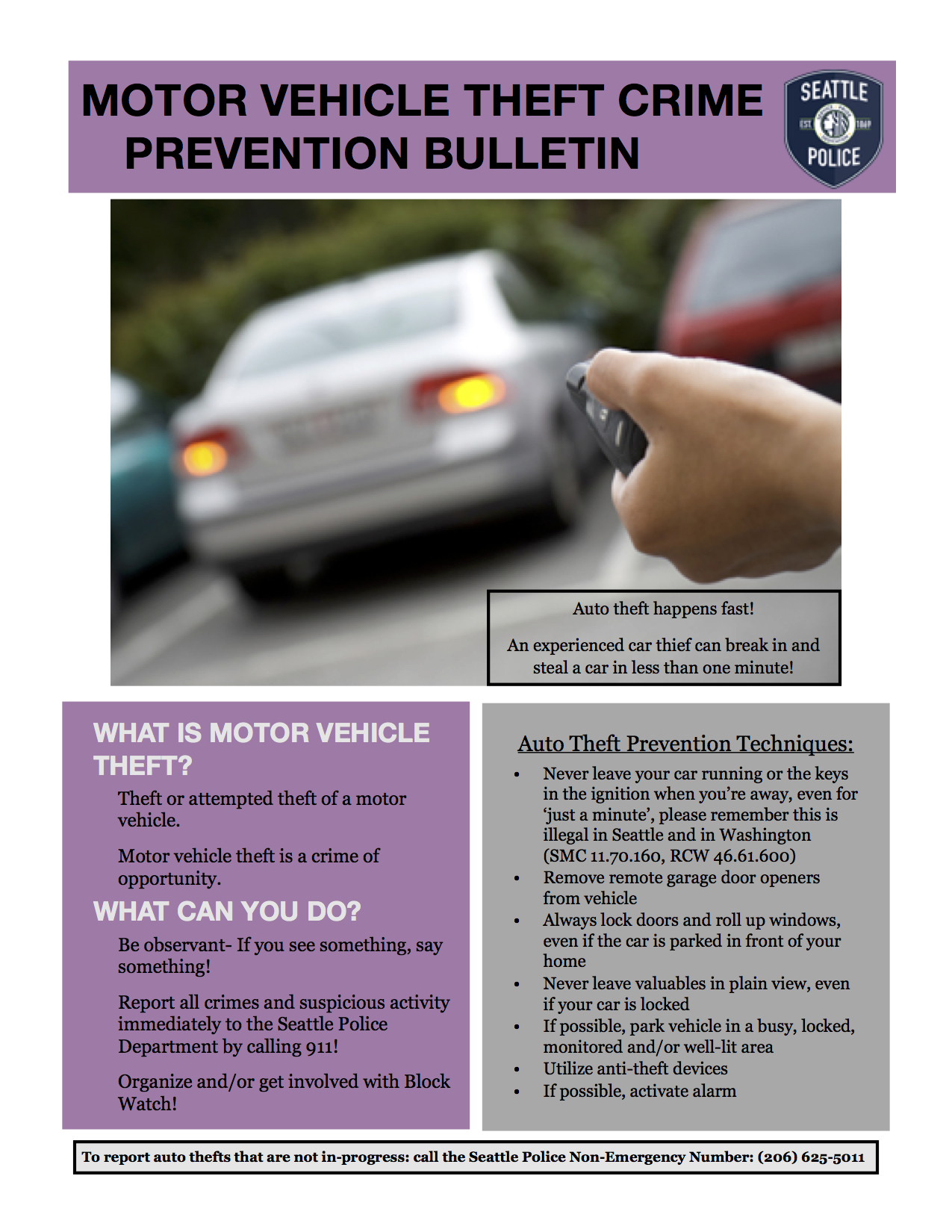 Seattle Police Department Auto Theft Tip Sheet
