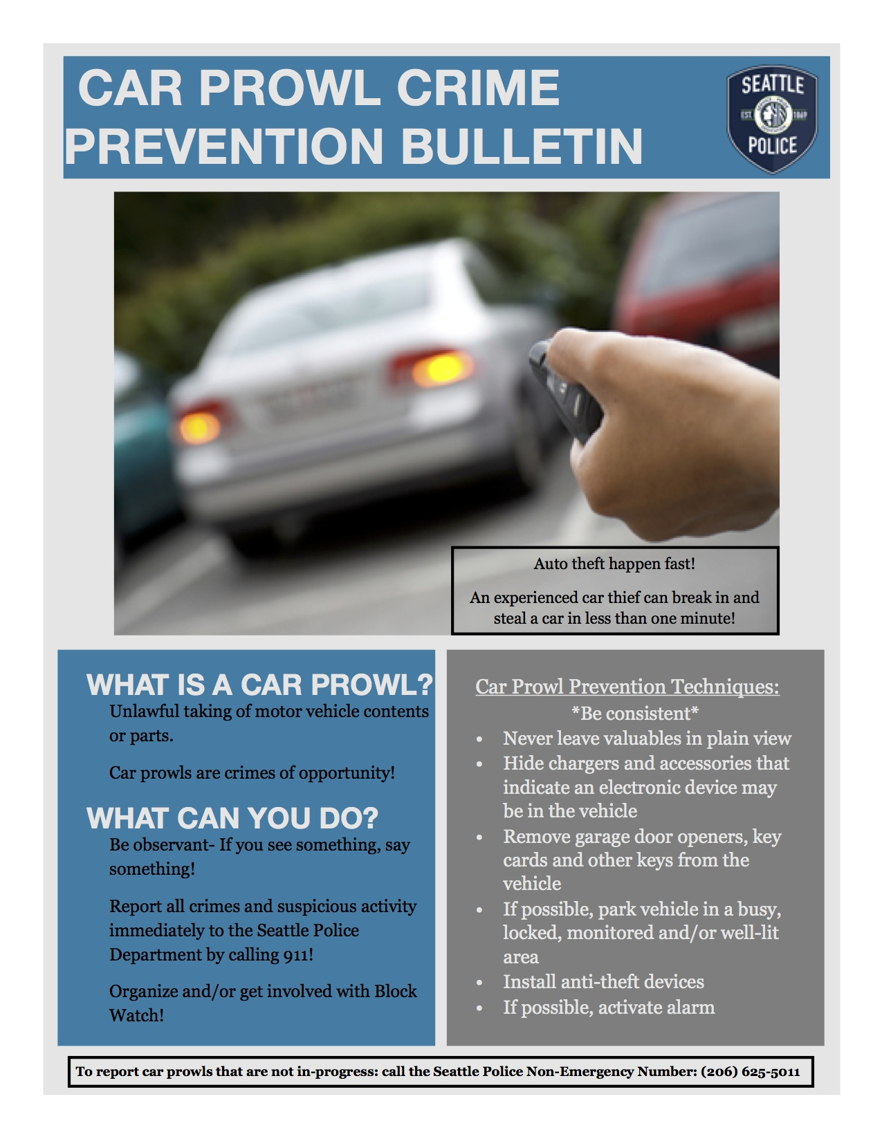 Seattle Police Department Car Prowl Prevention Tip Sheet