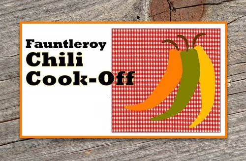 Chili Cookoff poster features three hot peppers on a red checkered square with a woodgrain border