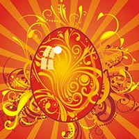 graphic easter image in red and gold has an egg at center and rays of light shinging from behind