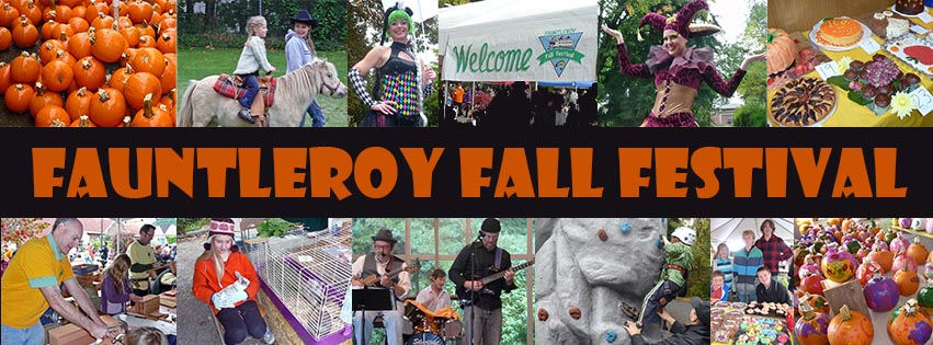 Fauntleroy Fall Festival banner with 10 small photos from past events and the festival name running across the middle
